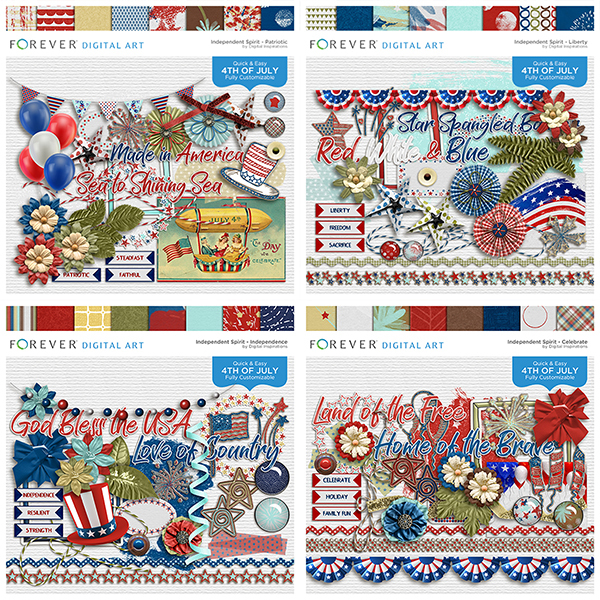 Independent Spirit Collection Digital Art - Digital Scrapbooking Kits