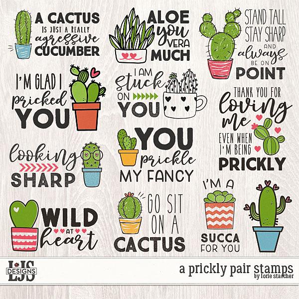 A Prickly Pair Stamps Digital Art - Digital Scrapbooking Kits