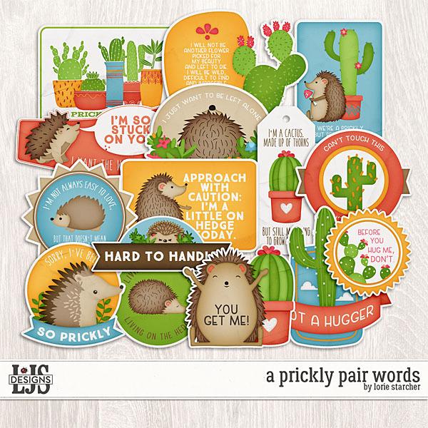 A Prickly Pair Words Digital Art - Digital Scrapbooking Kits