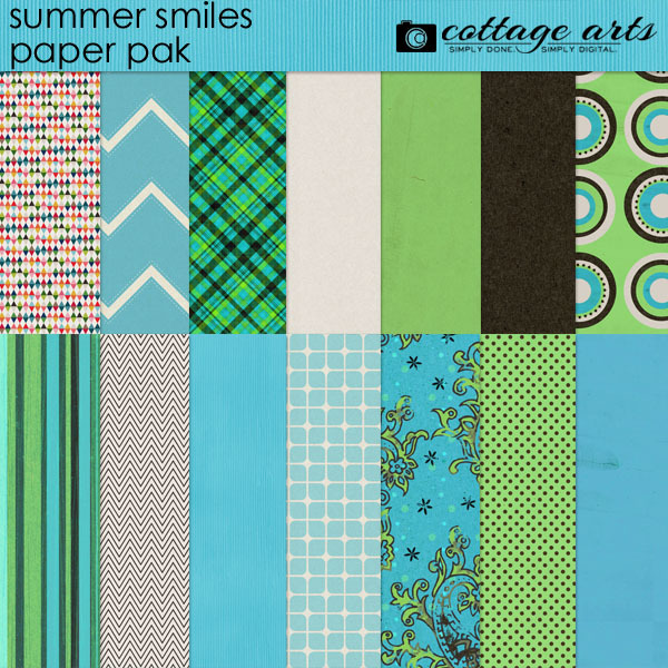 Summer Smiles Paper Pak Digital Art - Digital Scrapbooking Kits