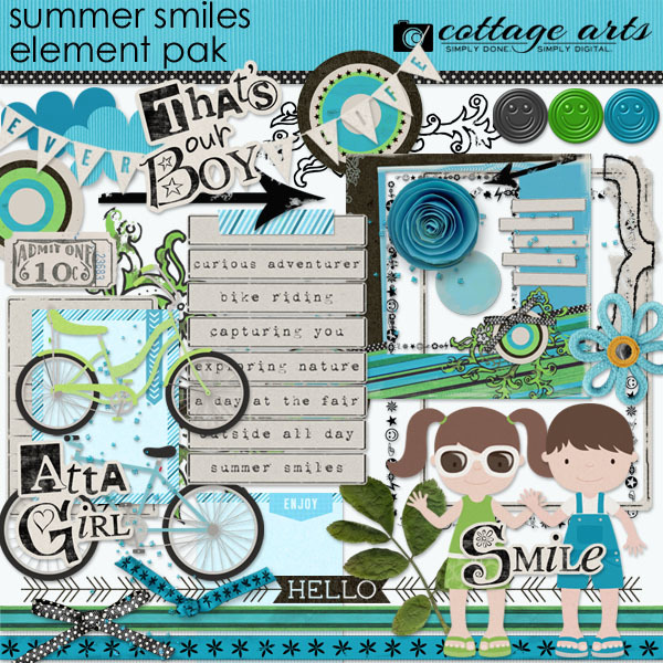Summer Smiles Element Pak Digital Art - Digital Scrapbooking Kits