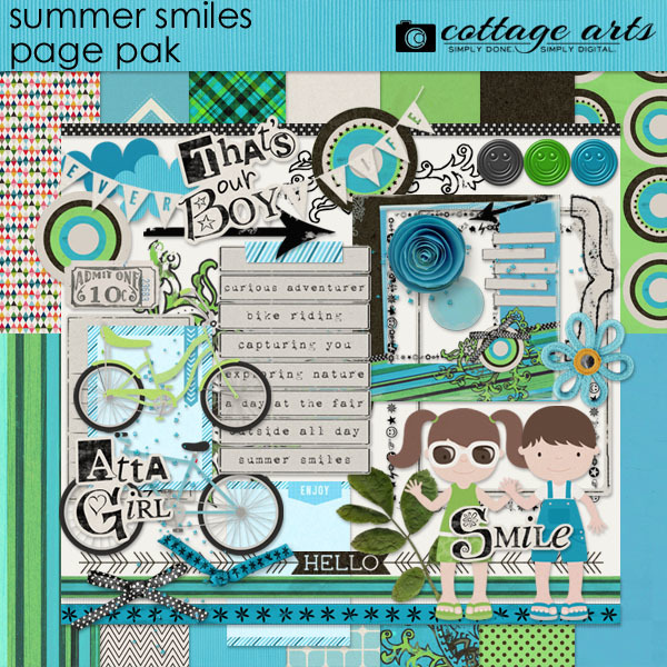Summer Smiles Page Pak Digital Art - Digital Scrapbooking Kits