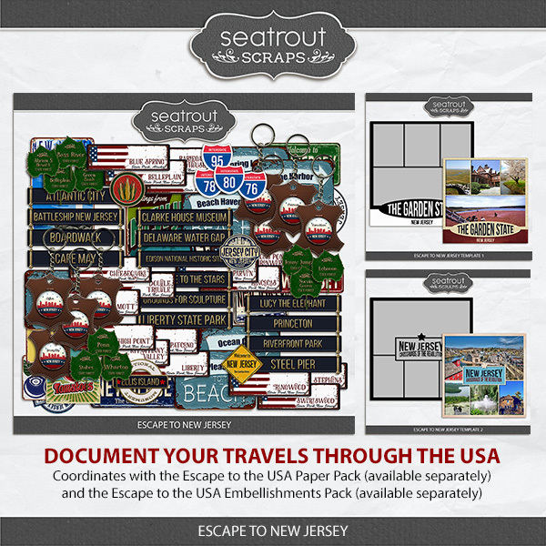 Escape to New Jersey Digital Art - Digital Scrapbooking Kits