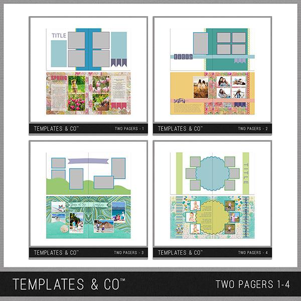 Two Pagers 1-4 Digital Art - Digital Scrapbooking Kits