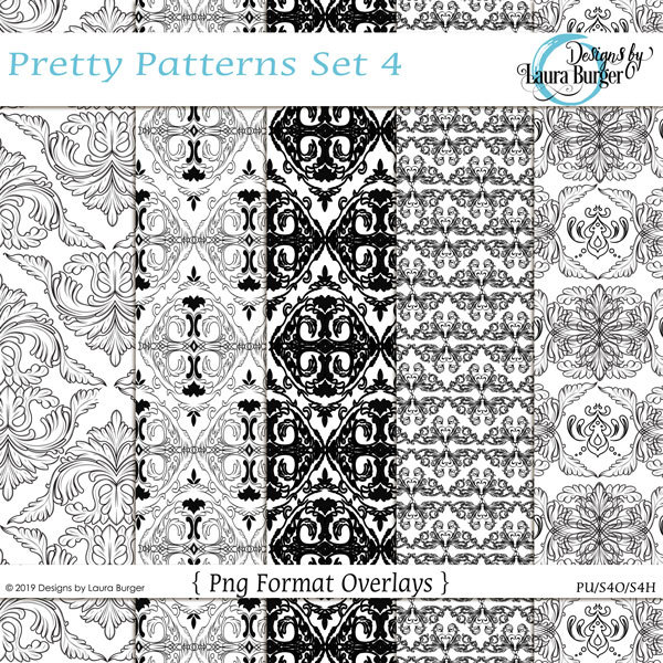 Pretty Pattern Overlays Digital Art - Digital Scrapbooking Kits