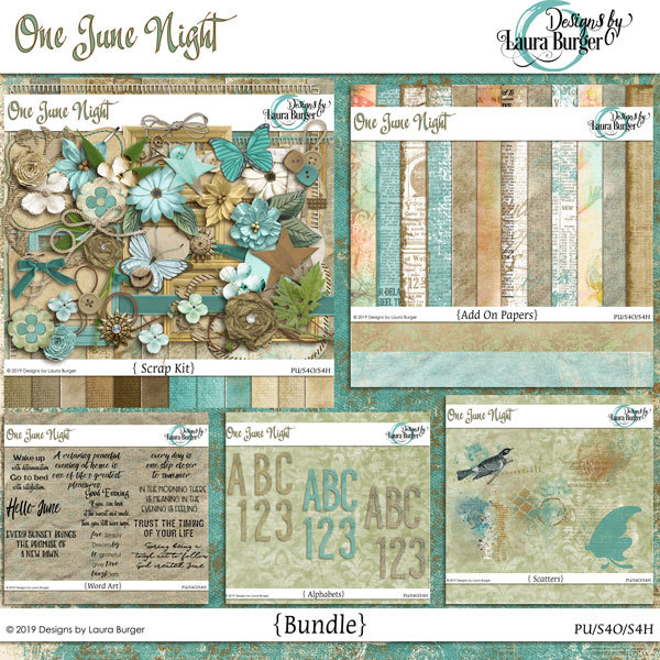 One June Night Bundle Digital Art - Digital Scrapbooking Kits