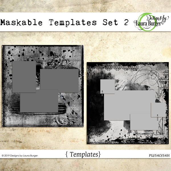 Maskable Templates Set 2 Digital Art - Digital Scrapbooking Kits