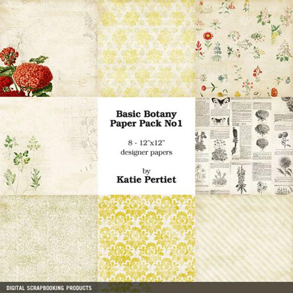 Basic Botany Paper Pack No. 01 Digital Art - Digital Scrapbooking Kits