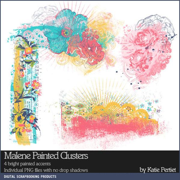 Malene Painted Clusters Digital Art - Digital Scrapbooking Kits