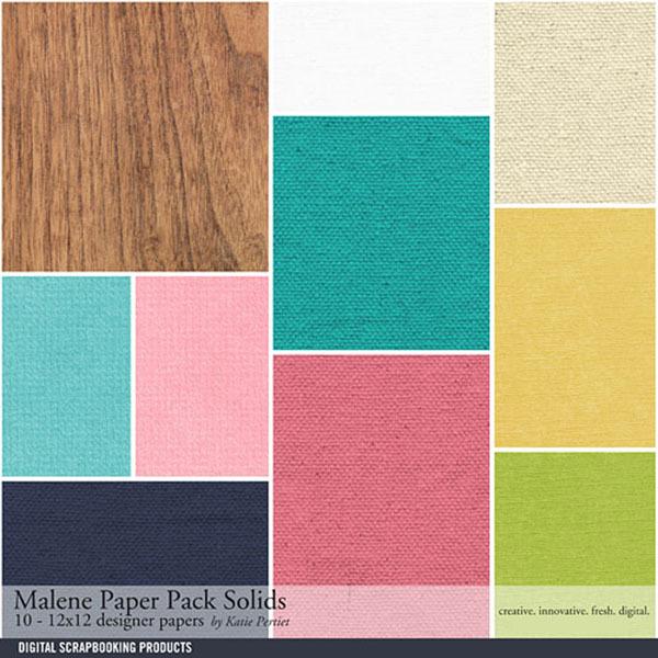 Malene Solids Paper Pack Digital Art - Digital Scrapbooking Kits