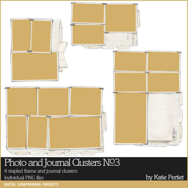 Photo and Journal Clusters No. 03 Digital Art - Digital Scrapbooking Kits
