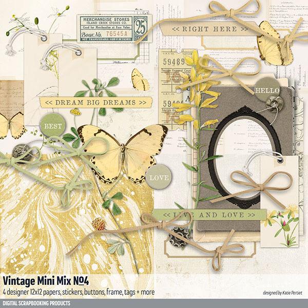 Vintage Mini Mix Kit No. 04 Digital Art - Digital Scrapbooking Kits
