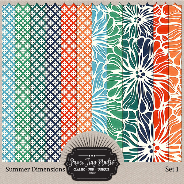 Summer Dimensions Set 1 Digital Art - Digital Scrapbooking Kits