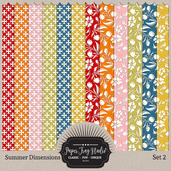 Summer Dimensions Set 2 Digital Art - Digital Scrapbooking Kits