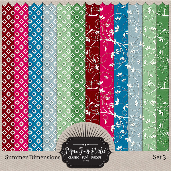 Summer Dimensions Set 3 Digital Art - Digital Scrapbooking Kits