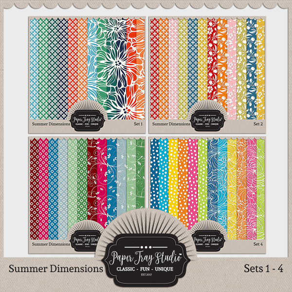 Summer Dimensions Sets 1-4 Digital Art - Digital Scrapbooking Kits