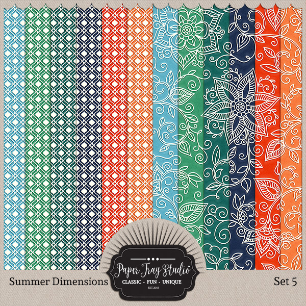 Summer Dimensions Set 5 Digital Art - Digital Scrapbooking Kits