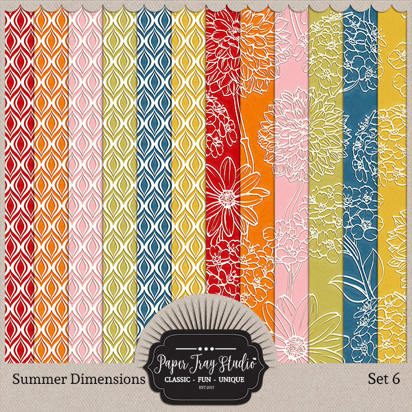 Summer Dimensions Set 6 Digital Art - Digital Scrapbooking Kits