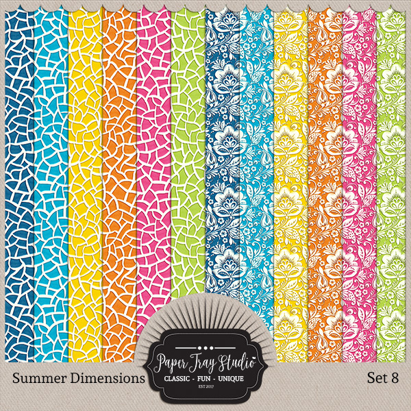 Summer Dimensions Set 8 Digital Art - Digital Scrapbooking Kits