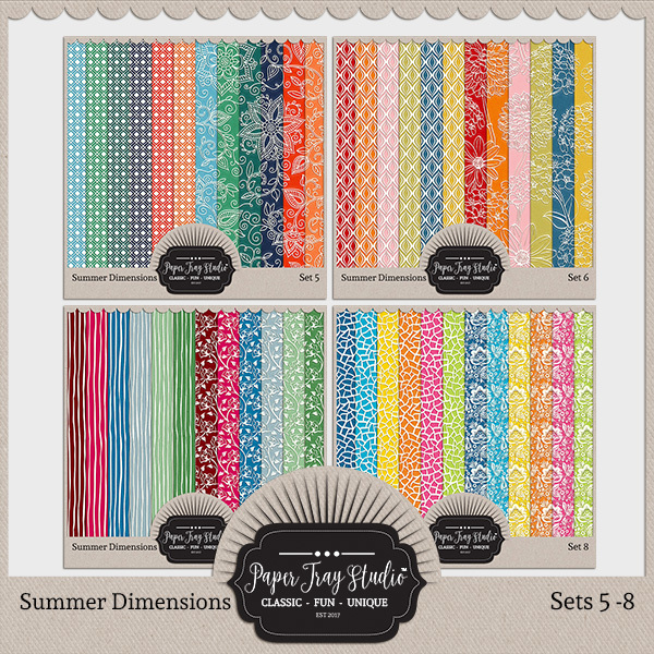 Summer Dimensions Sets 5-8 Digital Art - Digital Scrapbooking Kits