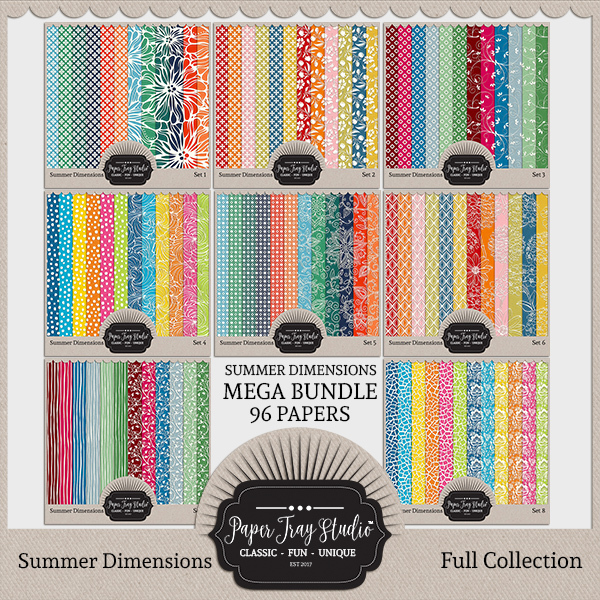 Summer Dimensions Sets 1-8 Digital Art - Digital Scrapbooking Kits