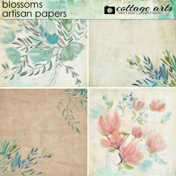 Blossoms Artisan Papers Digital Art - Digital Scrapbooking Kits