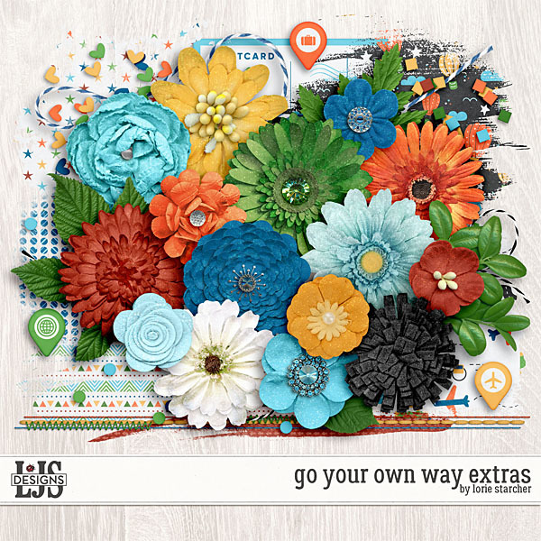 Go Your Own Way Extras Digital Art - Digital Scrapbooking Kits