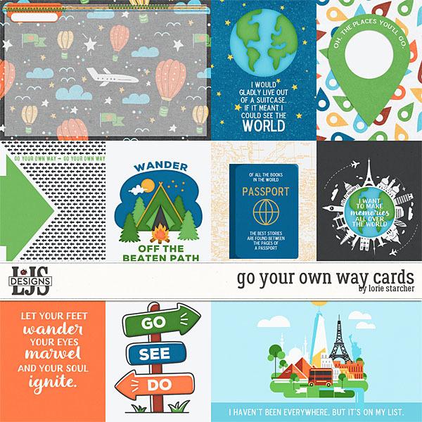Go Your Own Way Cards Digital Art - Digital Scrapbooking Kits