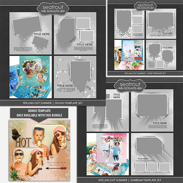 Spilling Out Summer Bonus Bundle 12x12 Digital Art - Digital Scrapbooking Kits