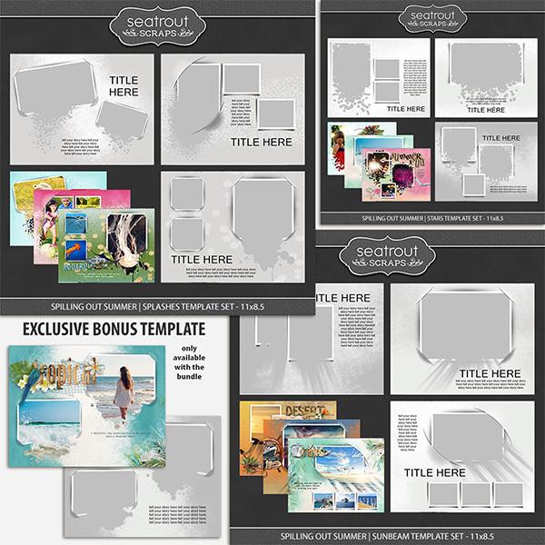 Spilling Out Summer Bonus Bundle 11x8.5 Digital Art - Digital Scrapbooking Kits