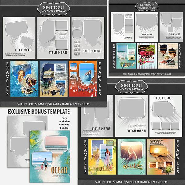Spilling Out Summer Bonus Bundle 8.5x11 Digital Art - Digital Scrapbooking Kits