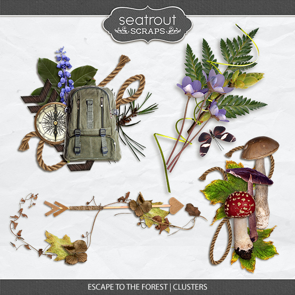 Escape to the Forest Clusters Digital Art - Digital Scrapbooking Kits