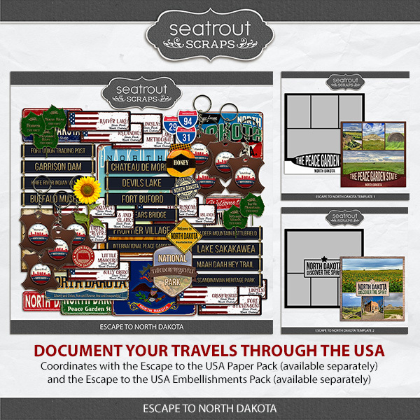 Escape to North Dakota Digital Art - Digital Scrapbooking Kits