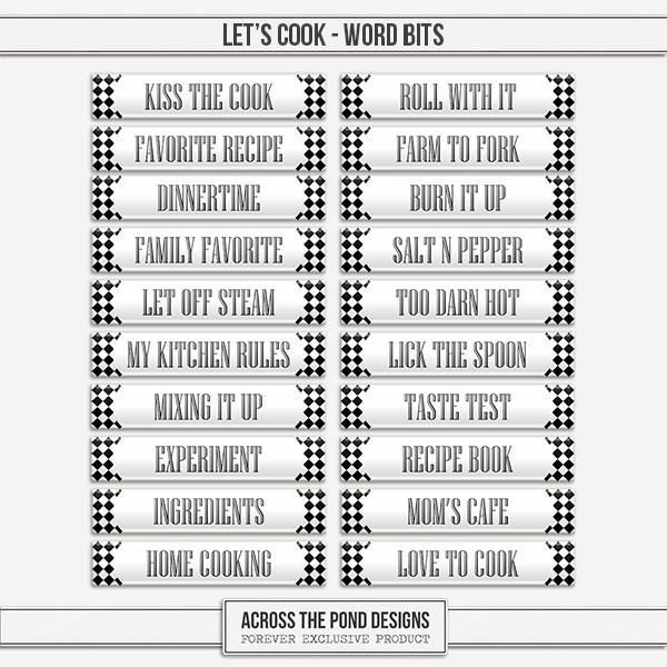 Let's Cook Word Bits Digital Art - Digital Scrapbooking Kits