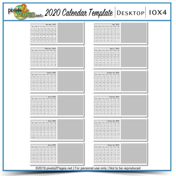 2020 10x4 Blank Desktop Calendar Template Digital Art - Digital Scrapbooking Kits