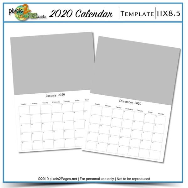 2020 11x8.5 Blank Calendar Template Digital Art - Digital Scrapbooking Kits
