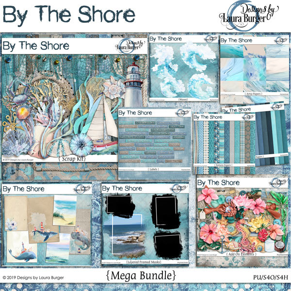 By The Shore Mega Bundle Digital Art - Digital Scrapbooking Kits