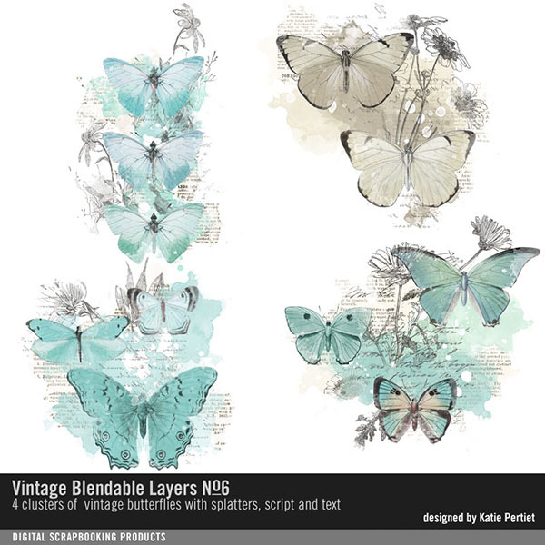 Vintage Blendable Layers No. 06 Digital Art - Digital Scrapbooking Kits