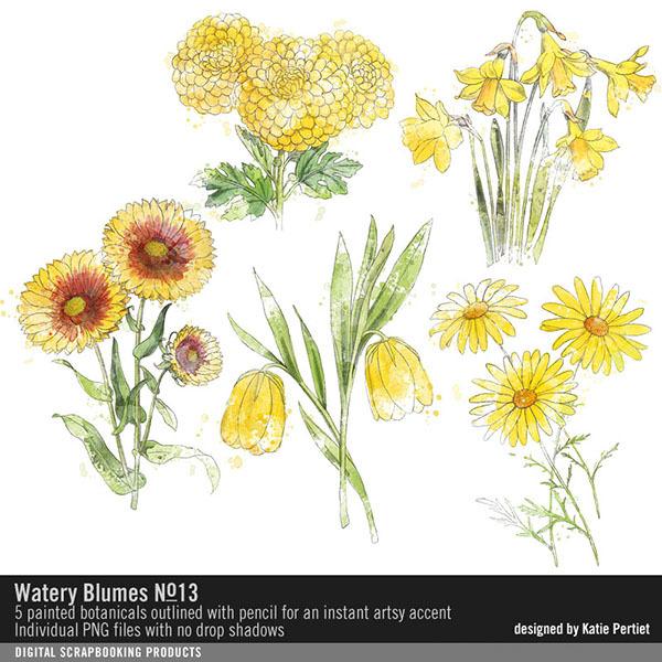 Watery Blumes No. 13 Digital Art - Digital Scrapbooking Kits