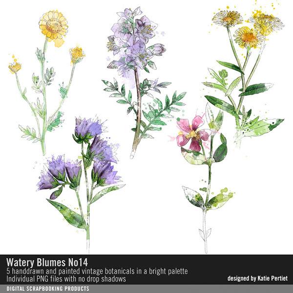 Watery Blumes No. 14 Digital Art - Digital Scrapbooking Kits