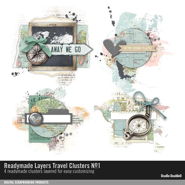 Readymade Layers Travel Clusters No. 01 Digital Art - Digital Scrapbooking Kits