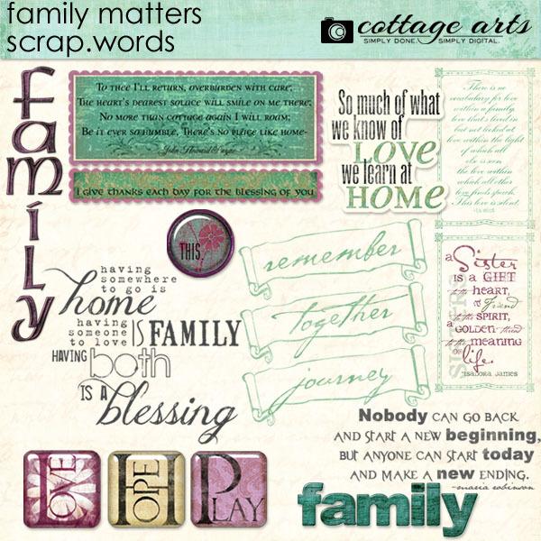 Family Matters Scrap.Words Digital Art - Digital Scrapbooking Kits