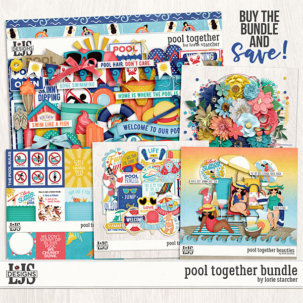 Pool Together Bundle Digital Art - Digital Scrapbooking Kits