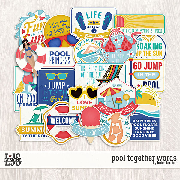 Pool Together Words Digital Art - Digital Scrapbooking Kits