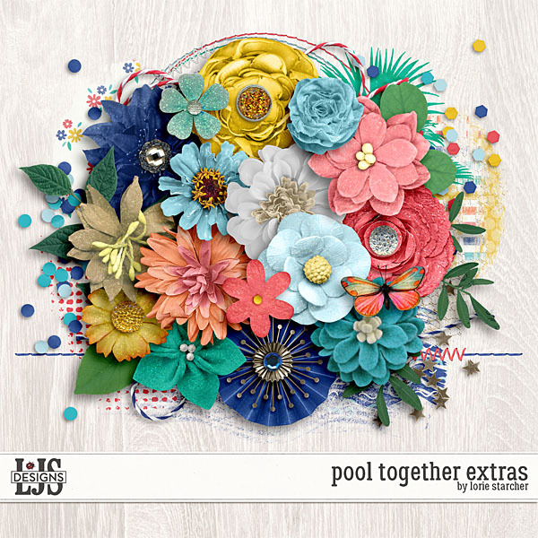 Pool Together Extras Digital Art - Digital Scrapbooking Kits