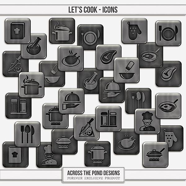 Let's Cook Icons Digital Art - Digital Scrapbooking Kits