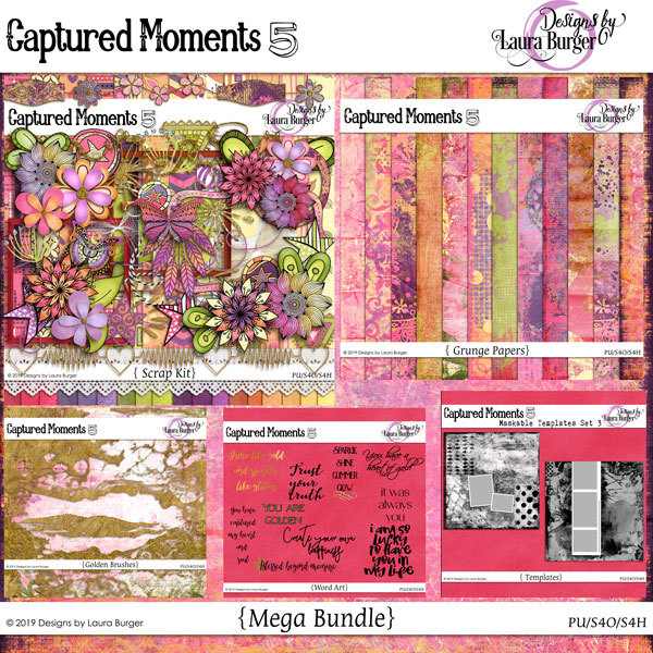 Captured Moments 5 Digital Art - Digital Scrapbooking Kits