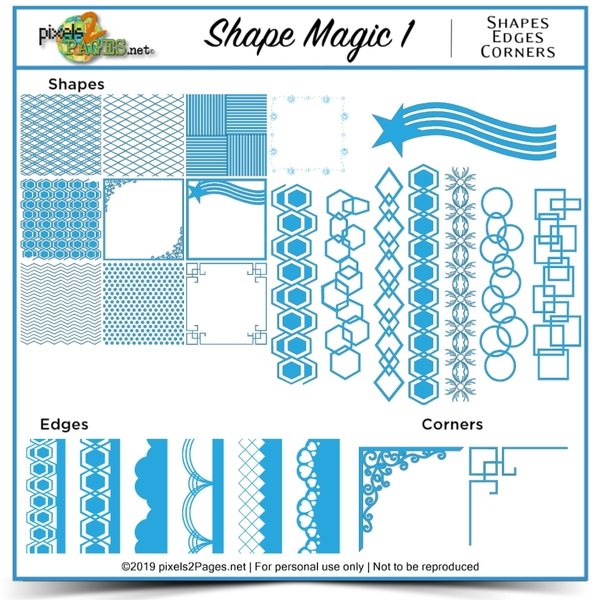 Shape Magic 1 Digital Art - Digital Scrapbooking Kits