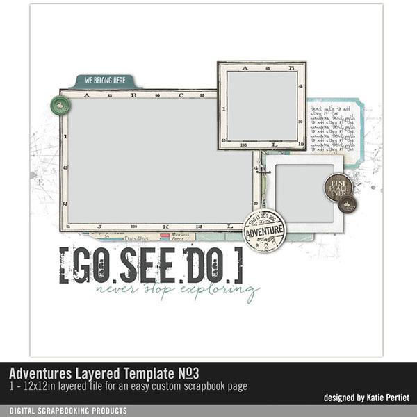 Adventures Layered Template No. 03 Digital Art - Digital Scrapbooking Kits