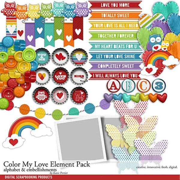 Color My Love Element Pack Digital Art - Digital Scrapbooking Kits